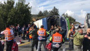 موقع حادث طرق في شارع 443، 10 فبراير 2019 (Israel Police)