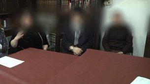 لقطة شاشة من مقطع فيديو لجلسة محكمة حاخامية خاصة قامت بإلغاء زواج بأثر رجعي في القدس، 3 فبراير، 2019. (Ynet)