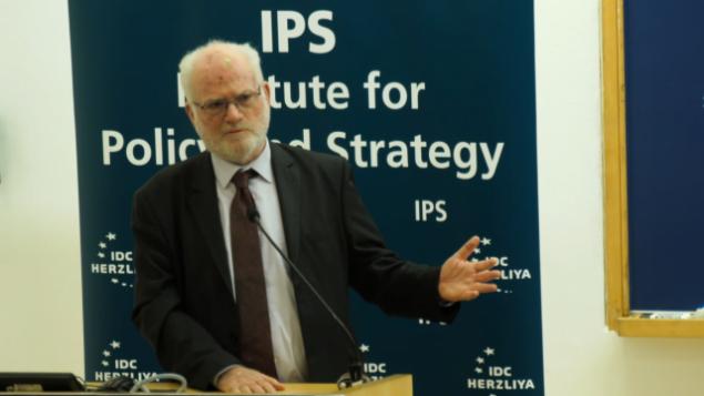 الجنرال الإسرائيلي والمسؤول الدفاعي السابق، عاموس غلعاد، يلقي كلمة في مؤتمر  عُقد في 'المركز متعدد المجالات' في هرتلسا؟، 12 فبراير، 2019. (Screen capture: IDC)