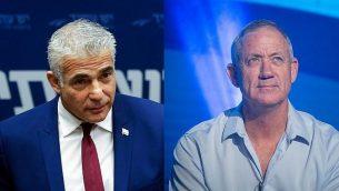 رئيس حزب 'يش عتيد'، يائير لابيد، من اليسار، ورئيس هيئة أركان الجيش الإسرائيلي الأسبق، بيني غانتس، من اليمين. (Flash90)