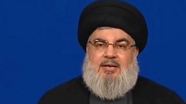 الأمين العام لمنظمة حزب الله، حس نصر الله، في 29 يونيو، 2018. (YouTube screenshot)