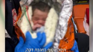 مولود جديد عثر عليه الى جانب حاوية نفايات في مدينة نتانيا في مركز اسرائيل، 6 فبراير 2019 (Screencapture/Channel 12)