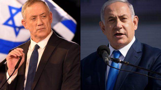 بيني غانتس (يسار) ورئيس الوزراء بنيامين نتنياهو (Gili Yaari, Yonatan Sindel/Flash90)