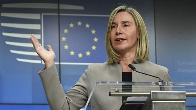 الممثلة العليا للاتحاد الأوروبي للشؤون الخارجية والسياسة الأمنية فيديريكا موغيريني تعقد مؤتمرا صحفيا مشتركا خلال اجتماع وزاري للشؤون الخارجية في مقر الاتحاد الأوروبي في بروكسل في 21 يناير 2019. (John Thys/AFP)