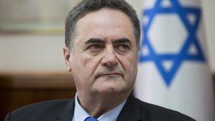 يسرائيل كاتس يحضر الجلسة الأسبوعية للحكومة في مكتب رئيس الوزراء في القدس، 17 فبراير، 2019.  (Sebastian Scheiner/Pool/AFP)