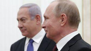 الرئيس الروسي فلاديمير بوتين يلتقي برئيس الوزراء الإسرائيلي بنيامين نتنياهو في الكرملين، 27 فبراير 2019 (MAXIM SHEMETOV / POOL / AFP)