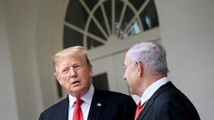 الرئيس الامريكي دونالد ترامب ورئيس الوزراء بنيامين نتنياهو في البيت الابيض، بواشنطن، 25 مارس 2019 (Brendan Smialowski/AFP)