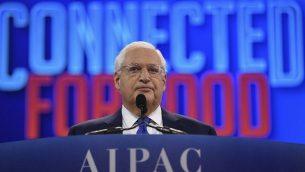 يتحدث السفير الأمريكي لدى إسرائيل دافيد فريدمان خلال المؤتمر السنوي إيباك في واشنطن في 26 مارس 2019. (Jim Watson/AFP)