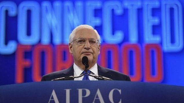 """السفير الأمريكي لدى إسرائيل يلقي كلمة أمام المؤتمر السنوي لمنظمة """"إيباك"""" في واشنطن، 26 مارس، 2019. (Jim Watson/AFP)"""