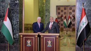 رئيس السلطة الفلسطينية محمود عباس ورئيس الوزراء العراقي عادل عبد المهدي في بغداد، 3 مارس، 2019.  (Credit: Wafa)