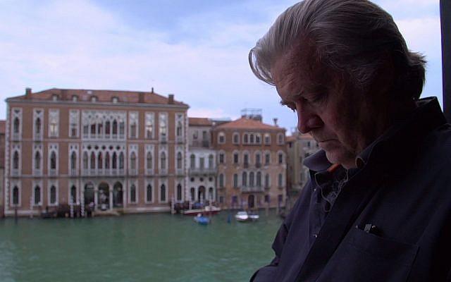 "ستيفن بانون في مشهد من فيلم ""الحافة"". (Courtesy Magnolia Pictures)"