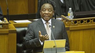 رئيس جنوب افريقيا سيريل رامافوزا خلال خطاب امام البرلمان في كيب تاون، جنوب افريقيا، 7 فبراير 2019 (Rodger Bosch, Pool via AP)