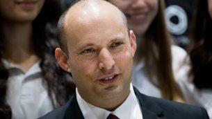 وزير التربية والتعليم نفتالي بينيت خلال حدث في مقر إقامة رئيس الدولة في القدس، 16 يناير ،2019.  (Yonatan Sindel/Flash90)