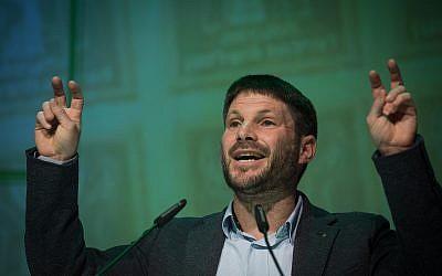 رئيس حزب 'الاتحاد الوطني'، عضو الكنيس بتسلئيل سموتريتش، خلال مؤتمر ل'الحركة من أجل جودة الحكم'، في موديعين، 4 فبراير، 2019. (Hadas Parush/Flash90)
