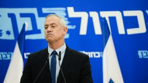 رئيس حزب 'أزرق أبيض'، بيني غانتس، خلال تجمع للحزب في تل ابيب، 20 مارس 2019 (Tomer Neuberg/Flash90)