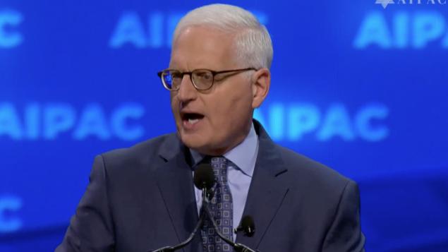الرئيس التنفيذي لإيباك هوارد كوهر يتحدث في مؤتمر إيباك في واشنطن العاصمة في 24 مارس 2019 (لقطة شاشة AIPAC)