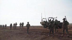 القوات الإسرائيلية خلال ردها على تسلل فلسطينيين من شمال قطاع غزة في 8 مارس / آذار 2019. (Yediot Mehashetah)