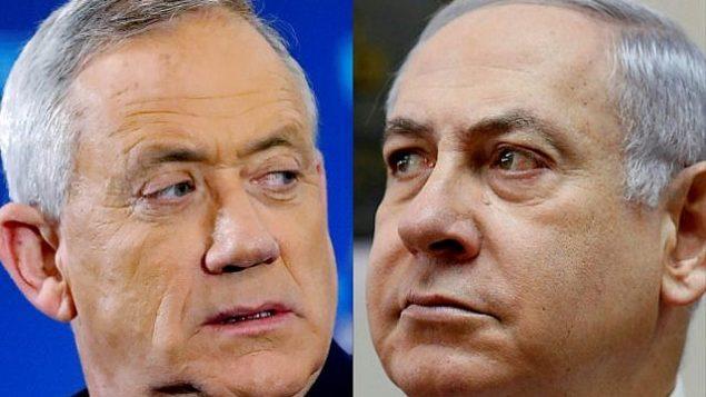 تُظهر هذه الصور التي تم دمجها في 2 أبريل 2019 صورة ملف تم التقاطها في 1 أبريل 2019 للجنرال الإسرائيلي المتقاعد بيني غانتس (يسار)، رئيس حزب أزرق-أبيض، وصورة ملف تم التقاطها في 10 مارس 2019 لرئيس الوزراء بنيامين نتانياهو خلال حضوره الاجتماع الأسبوعي لمجلس الوزراء في مكتبه بالقدس. (Jack Guez and Gali Tibbon/AFP)