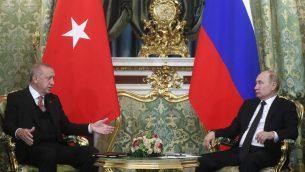 الرئيس الروسي فلاديمير بوتين خلال لقاء بنظيره التركي رجب طيب إردوغان في كرملين، 8 ابريل 2019 (MAXIM SHIPENKOV / POOL / AFP)