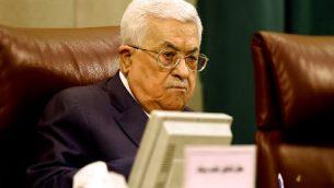 رئيس السلطة الفلسطينية محمود عباس خلال اجتماع للجامعة العربية في القاهرة، 21 ابريل 2019 (MOHAMED EL-SHAHED / AFP)