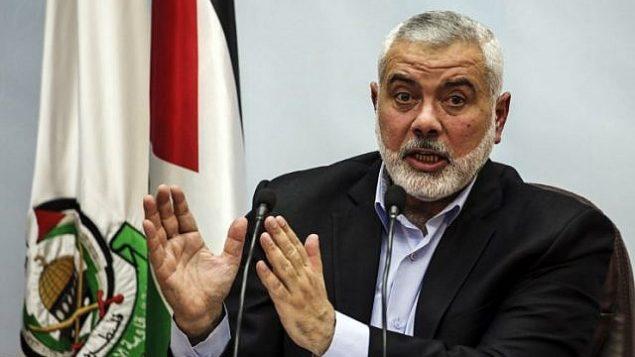 القيادي في حماس إسماعيل هنية يلقي خطابا في مدينة غزة في 23 يناير 2018. (AFP Photo / Mahmud Hams)