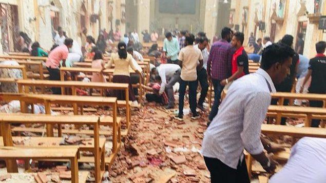 تبعات الانفجار في كنيسة سانت سيباستيان في نغومبو، سريلانكا، في أحد الفصح، 21 أبريل، 2019.  (Courtesy: St. Sebastian's Church)