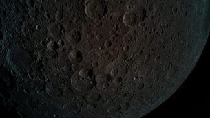 """التقطت """"بريشيت"""" هذه الصورة لسطح القمر على ارتفاع 440 كم من سطحه فقط أثناء مناورة التقاط القمر في 4 أبريل 2019. (Beresheet)"""