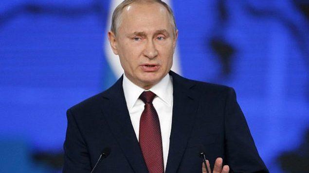 الرئيس الروسي فلاديمير بوتين يقدم خطاب في موسكو، 20 فبراير 2019 (Photo/Alexander Zemlianichenko/AP)