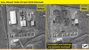 صور أقمار اصطناعي نشرتها شركة ImageSat انترناشونال تظهر آثار غارات جوية نُنسبت لإسرائيل واستهدفت قاعدة عسكرية سورية في مصياف في محافظة حماة، 12 أبريل، 2019.  (ImageSat International)