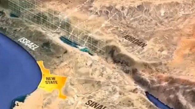 لقطة شاشة من فيديو يزعم أنه يعرض خطة لإعطاء جزء من سيناء من أجل دولة فلسطينية مستقبلية. المبعوث الأمريكي جيسون غرينبلات ينكر أن هذا جزء من خطة ترامب للسلام ، 19 أبريل 2019. (Screencapture / Twitter)