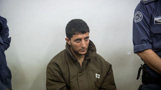 عرفات الرفاعية، المتهم بقتل أوري انسباخر (19 عاما)، في محكمة الصلح في القدس، 20 فبراير 2019 (Yonatan Sindel/Flash90)