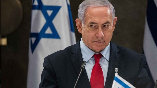 رئيس الوزراء بنيامين نتنياهو خلال مؤتمر صحفي في فندق دافيد سيتاديل في القدس، في 20 مارس 2019. (Noam Revkin Fenton/Flash90)