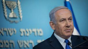 رئيس الوزراء بنيامين نتنياهو خلال مؤتمر صحفي في مكتب رئيس الوزراء في القدس، 3 ابريل 2019 (Noam Revkin Fenton/Flash90)