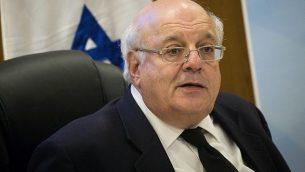 القاضي حنان ملتسر، رئيس لجنة الانتخابات المركزية للكنيست ال21، يشارك في جلسة في الكنيست، 3 أبريل، 2019.  (Yonatan Sindel/Flash90)