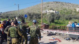 الموقع الذي شهد محاولة هجوم طعن في حوارة، شمال الضفة الغربية، 3 أبريل، 2019. (Courtesy)