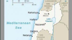 جزء من الخريطة التي نشرتها الولايات المتحدة في 16 أبريل، 2019، التي تظهر لأول مرة هضبة الجولان كأرض إسرائيلية. (screencapture)