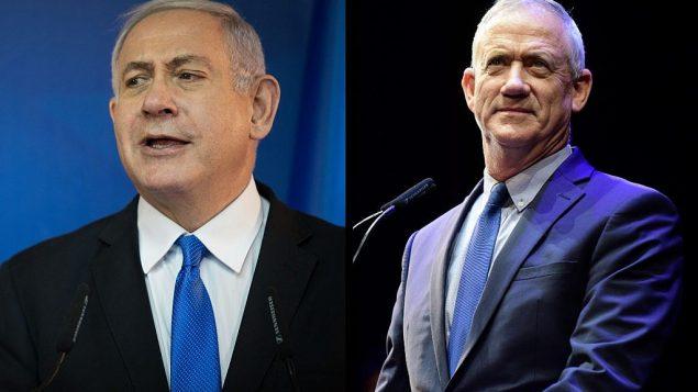 رئيس الوزراء بنيامين نتنياهو، من اليسار، وبيني غانتس، من اليمين.  (Hadas Parush/Tomer Neuberg/Flash90)
