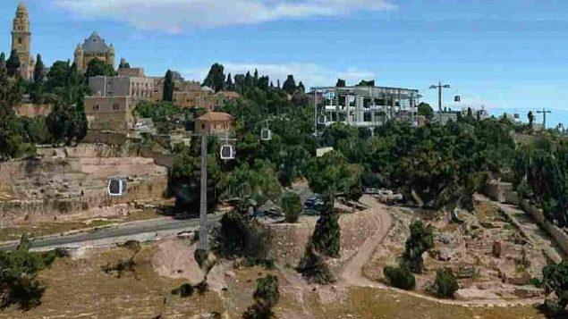 التصور المعماري لمحطة التلفريك المخطط لها في جبل صهيون. يمكن رؤية كنيسة رقاد السيدة العذراء على اليسار. (From plans submitted to the National Planning Council