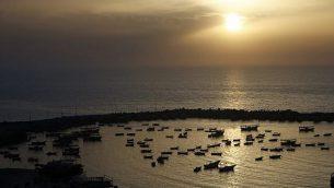 صورة لميناء الصيد في مدينة غزة، 5 مايو، 2019. 2019. (MOHAMMED ABED / AFP)