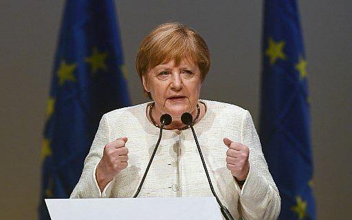 المستشارة الالمانية انغيلا ميركل تقدم خطال في ميونيخ، المانيا، 24 مايو 2019 (