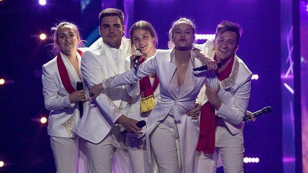 فرقة 'دي مول' من الجبل الأسود في أول بروفة لها في 4 مايو، 2019، في تل أبيب استعداد لمسابقة الأغنية الأوروبية 'يوروفيجن'.  (Andres Putting, EBU)