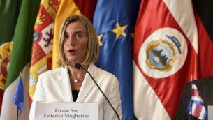 وزيرة خارجية الاتحاد الأوروبي فيديريكا  خلال مؤتمر صحفي في سان خوزي، كوستا ريكا، 7 مايو 2019 (Carlos Gonzalez /AP)