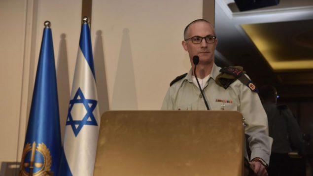 المحامي العسكري العام الجنرال شارون افيك يتحدث خلال مؤتمر قانون دولي في هرتسليا، 28 مايو 2019 (Israel Defense Forces)