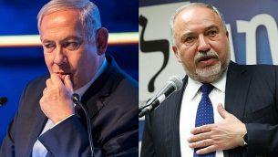 رئيس الوزراء بنيامين نتنياهو، في الصورة من اليسار، وزعيم 'يسرائيل بيتنو'، أفيغدور ليبرمان، في الصورة من اليمين. (Flash90)