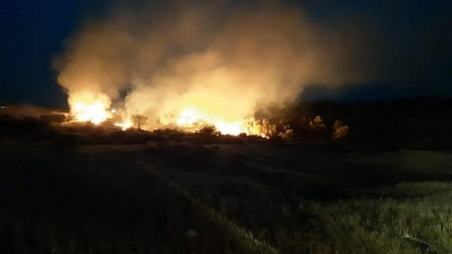 حريق في منطقة اشكول في جنوب اسرائيل، 1 مايو 2019 (Tzvika Korbeshi/Eshkol Regional Council)