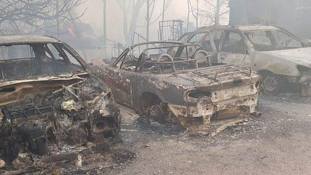آثار الحريق في بلدة ميفو موديعيم في 23 مايو، 2019. (Israel Fire Service)