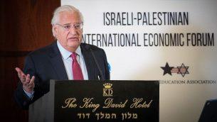 السفير الامريكي الى اسرائيل دافيد فريدمان يخاطب مؤتمر اقتصادي اسرائيلي فلسطيني دولي في القدس، 21 فبراير 2019 (Yonatan Sindel/Flash90)
