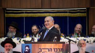 رئيس الوزراء بنيامين نتنياهو يتحدث خلال احتفالية يوم القدس، 2 يونيو 2019 (Aharon Krohn/Flash90)