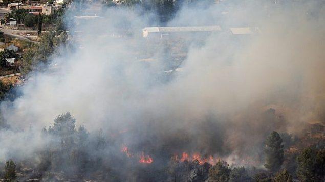 حريق بالقرب من موشاف إيفن سابير، غرب القدس، 4 يونيو، 2019. (Noam Revkin Fenton/Flash90)