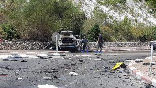 موقع انفجار سيارة في اغتيال اجرامي مشتبه به في نيشر، 3 يونيو 2019 (Israel Police)